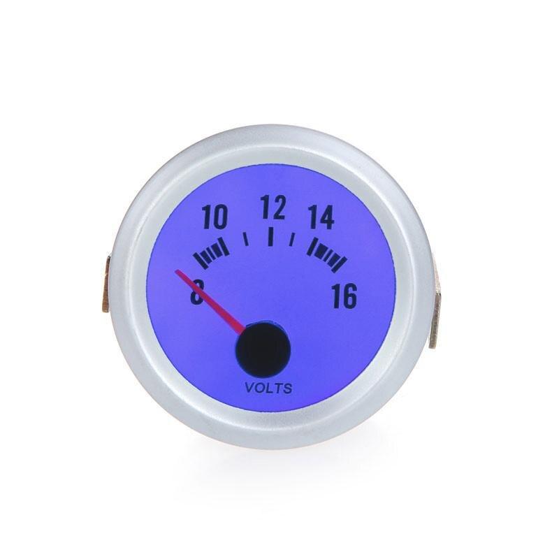 """Analytical Voltage Meter Gauge Voltmeter For Auto Car 2"""" 52mm 8~16v Blue Led Light"""