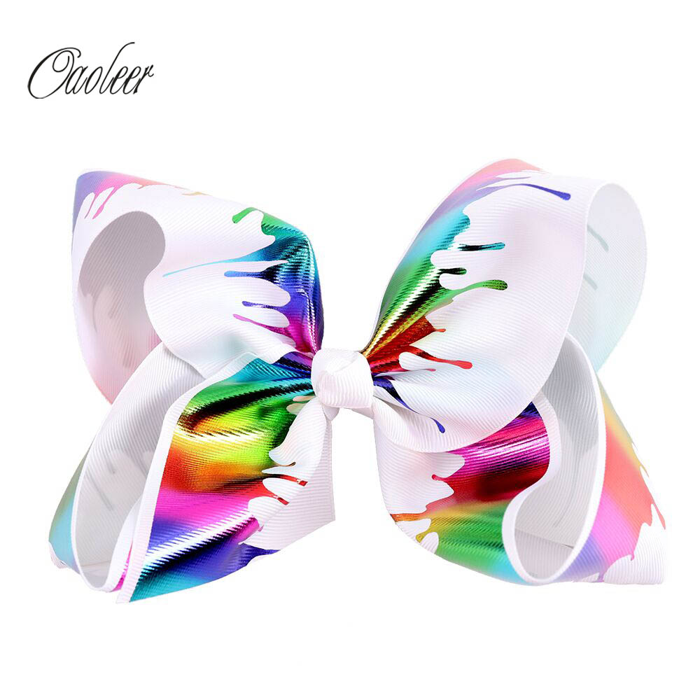 Oaoleer Unicorn Hair Bow Colorful Printed Hair Accessories