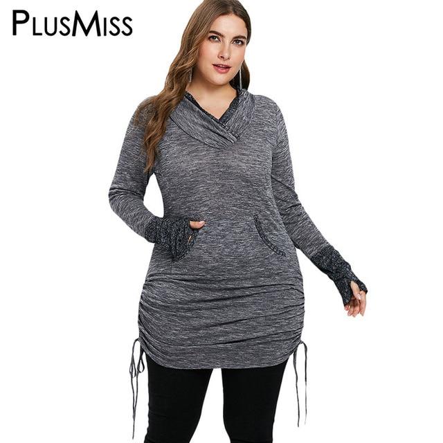 3257359590ead PlusMiss Plus Size 5XL-L Long Sleeve Kangaroo Pocket Long Sweatshirts Women  Winter Autumn 2018 Glove Hoodies Oversized Female