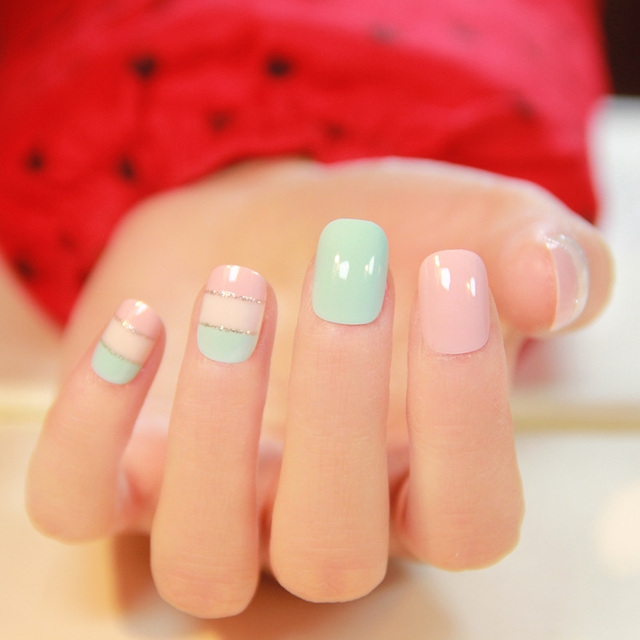 Cream color Japanese stripped pattern fake nails french cute false ...