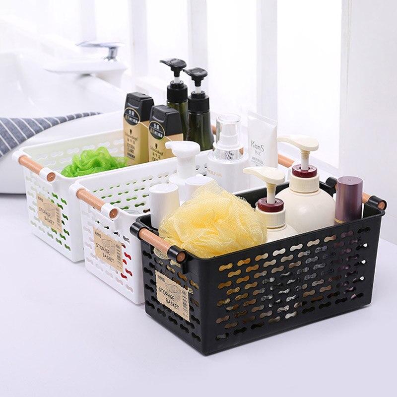 Japanese - style plastic storage basket finishing finishing basket bathroom table cosmetics small basket kitchen storage box