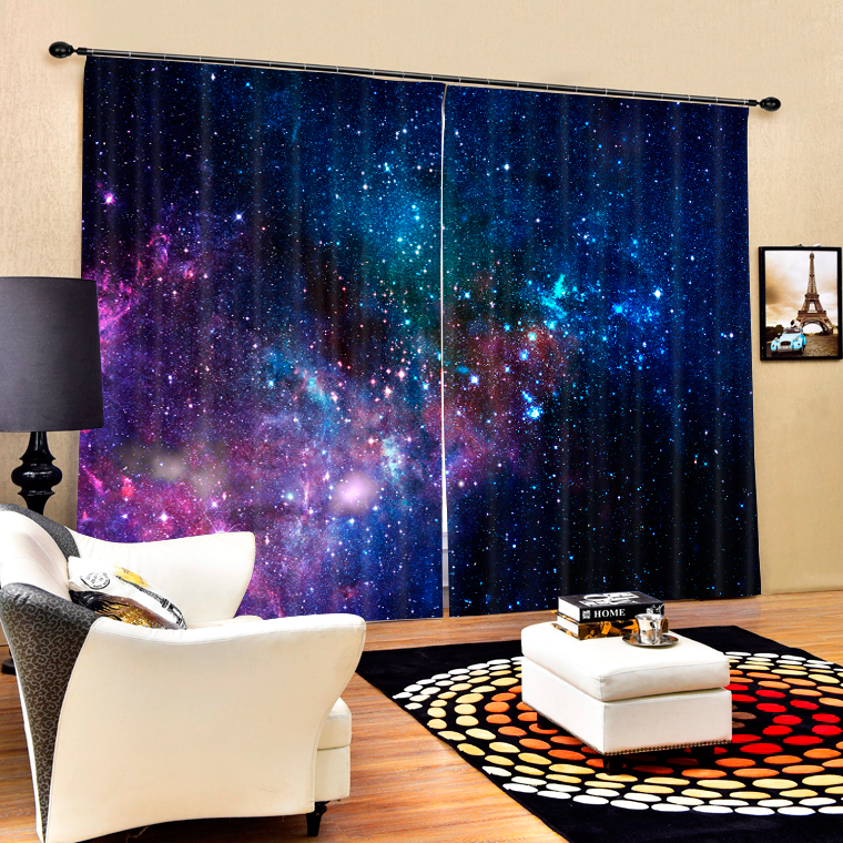 Galaxy Starry Sky 3D Blackout Curtains Healthy Non-pollution Print Space Universe Bedding Room Living Room Hot Sale