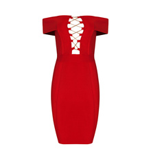 Max Spri 2017 New Women Off The Shoulder Bandage Dress Sexy Lace Up Mini Club Sheath Slash Neck Fashion Summer Dress Wholesale
