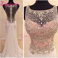 Linyixun 2018 New Vestido de festa Bodice Crystal Beads Sparkly Prom Dress Sheer Illusion Sheath Long Formal Evening Dresses