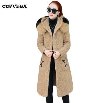 Imitation gold velvet jackets Female 2020 winter new slim fur collar section medium long thick warm Parker coat women's clothing