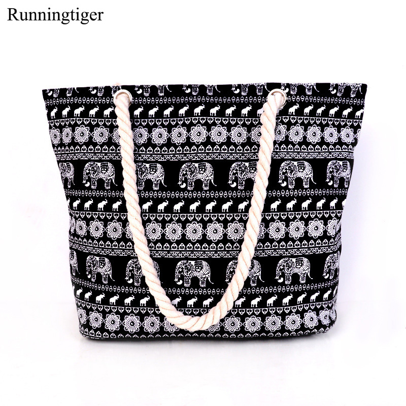 Women Canvas Handbag Single Shoulder Handbag Elephant Canvas Beach Bag Woven Shoulder Handbags Women Canvas Tote Printed Bags aosbos fashion portable insulated canvas lunch bag thermal food picnic lunch bags for women kids men cooler lunch box bag tote