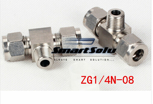 Free shipping Tee Union Stainless Steel Connector Fitting,ZG1/4N-08 Thread, Homebrew Fitting,Straight terminal fittings free shipping 30pcs peg 10mm 8mm pneumatic unequal union tee quick fitting connector reducing coupler peg10 8