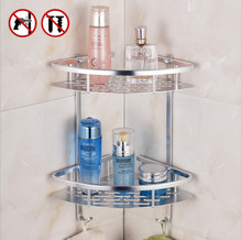 Bathroom Shelf (No Drill) Durable Aluminum 2-3 Tiers Shower Kitchen Storage Basket Corner Shelves Caddy