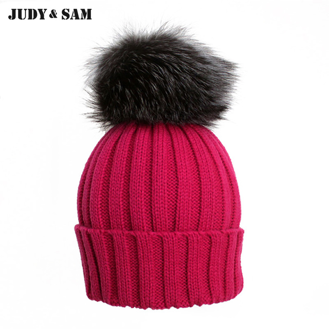 84a7a837c0ba6 16 Colors Wool Blend Boys and Girls Winter Hats with Genuine Silver Fox Fur  Pom Pom Fitted Bobble Fur Beanies Men Cap Women