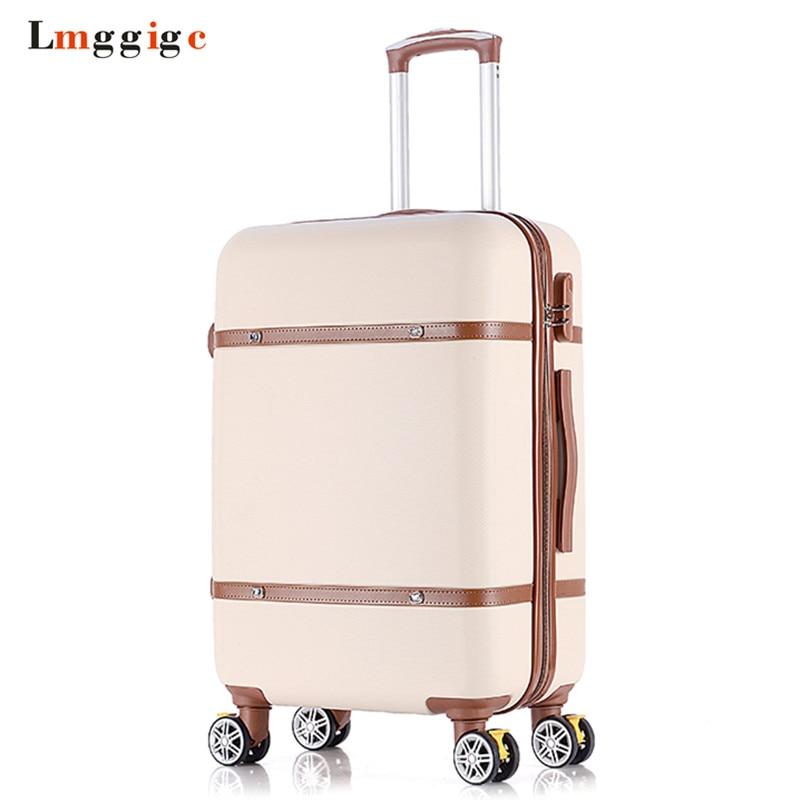 Valise de voyage Vintage, sac à bagages roulant, boîtier de chariot pour femme avec roue, boîte rigide en coque ABS, bagage à main universel pour homme