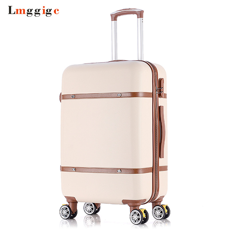 Vintage Travel Suitcase,Rolling Luggage bag,Women Trolley Case with wheel, ABS shell Hardcase Box ,Men Universal Wheel Carry-On
