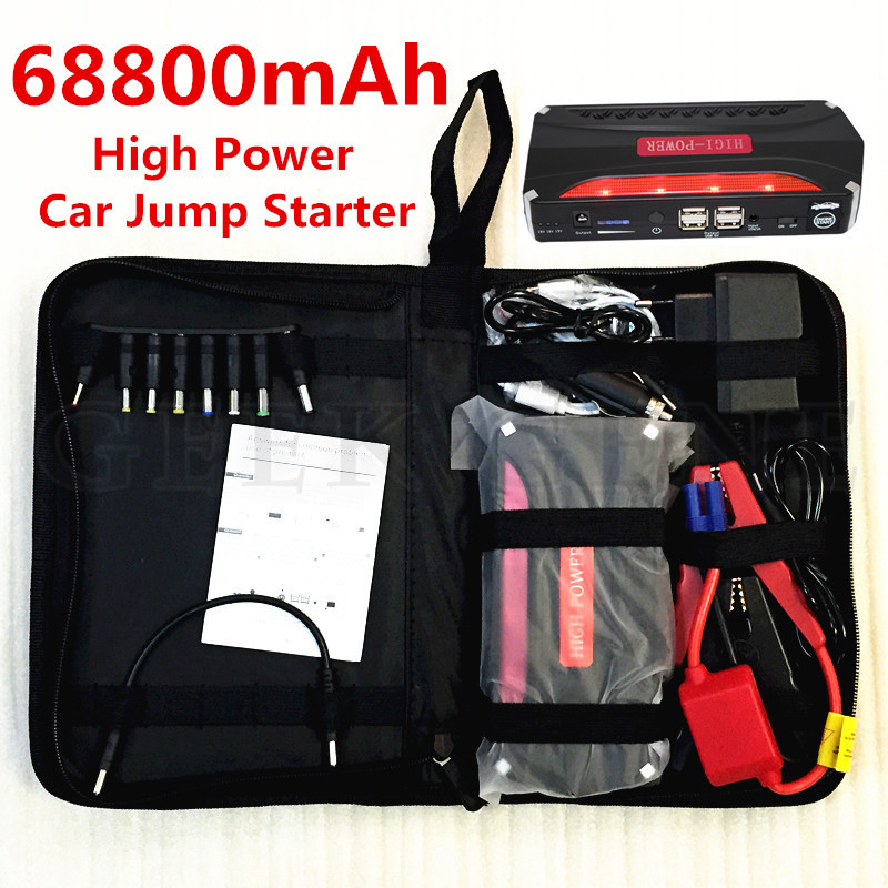 High power 68800mAh 600A peak Car Jump Starter mini Emergency power bank Battery Booster Charger for  Electronics Free shipping