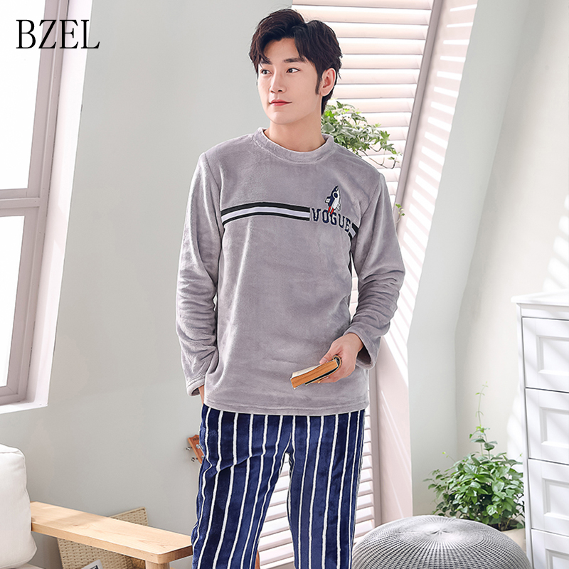 BZEL Men Flannel Pajamas Set Casual Home Clothing Winter Long Sleeve Round Neck Cartoon Men's Sleepwear Pyjamas Homme Nightwear