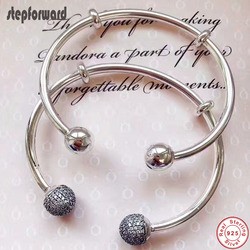 Newest Arrival Collection Popular And Fashion CZ Paving Round Heard 925 Sterling Silver Open Mouth Charm Bangle