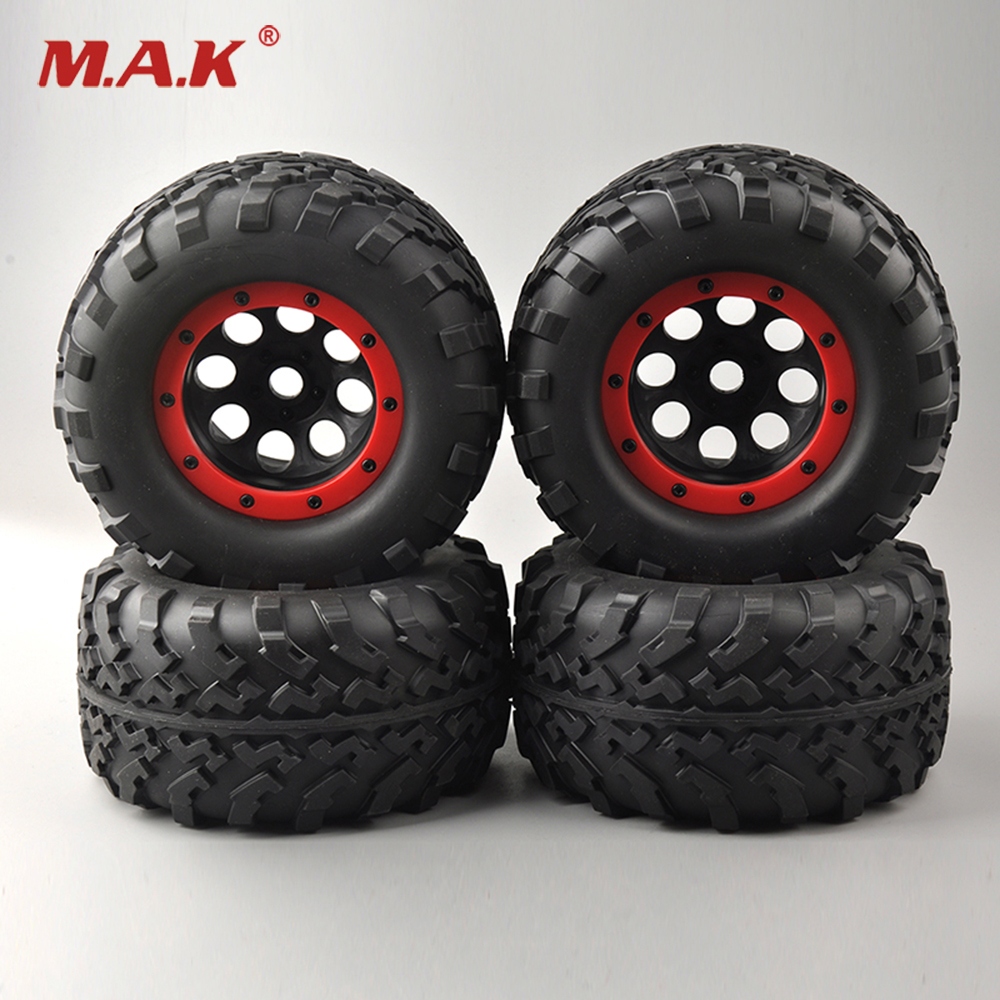 4 PCS/Set Bigfoot Rubber Tires Tyre Red Wheel Rim For 1/8 Rc Truck Car Models Parts and Accessories 26406 4pcs set 140mm rc 1 8 monster truck tires tyre plastic wheel rims