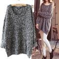 2015 nueva llegada de moda Casual mujeres que hacen punto los géneros de punto jerseys Pullover Mini vestido de suéter largo Tops envío gratis Y0129-49D