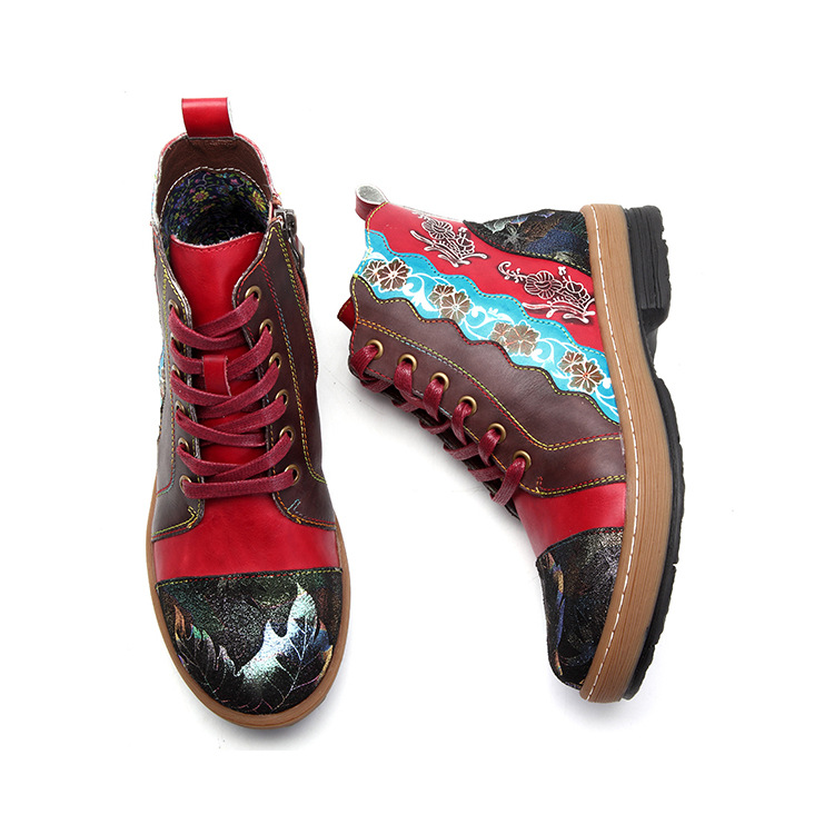 2018 Cuir Véritable Femmes Rouge Confortable Bottes Hiver Peau De Chaussures Main À Vache La Mode En Cheville Pour National Style Femme x4R4qwI