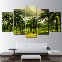 Canvas HD Print Poster Home Decor 5 Pieces Tropical Coconut Tree Landscape Painting Green Forest Pictures Wall Art Modular Frame