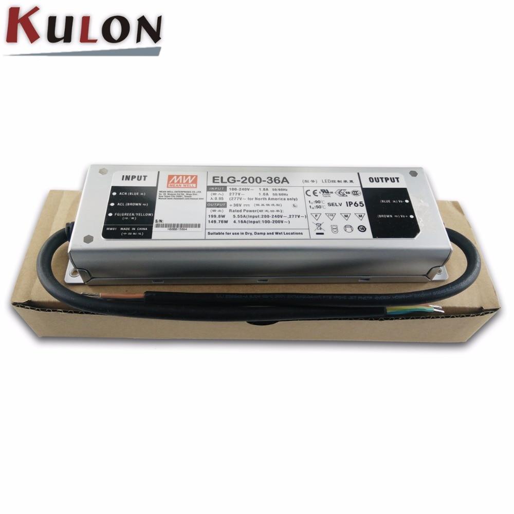 ELG-200-36A d'alimentation de puits moyen d'origine 200 W 36 V 5.55A IP65 Meanwell conducteur de LED réglable ELG-200 un type