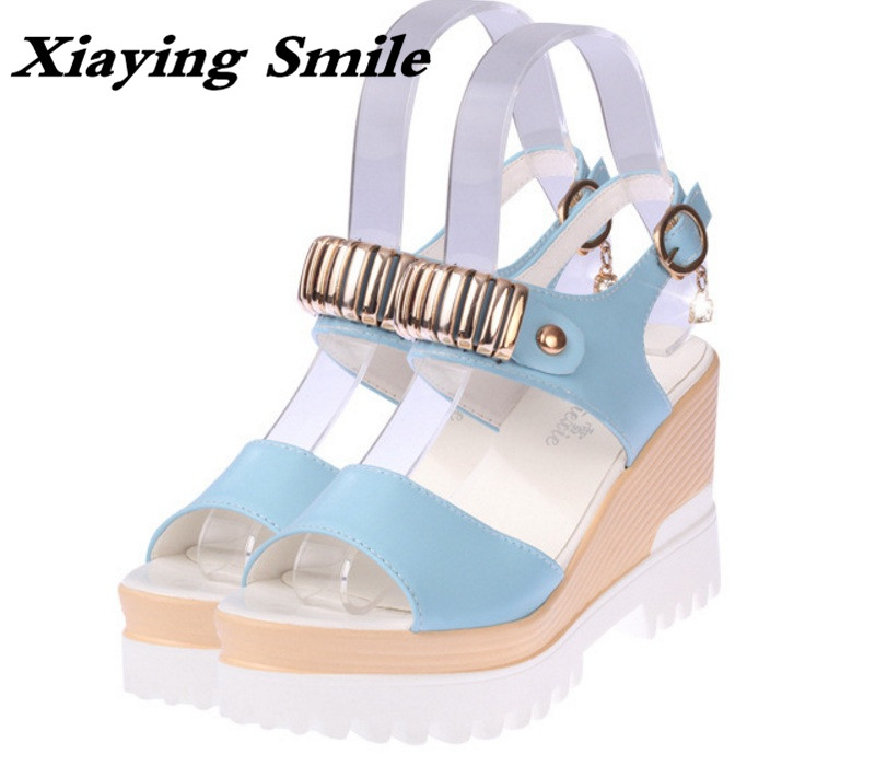 Xiaying Smile Summer Woman Sandals Shoes Platform Women Pumps Buckle Strap Wedges Heels Sweet Candy Color Thick Sole Women Shoes xiaying smile summer new woman sandals platform wedges women pumps high heel buckle strap fashion flock lady rubber women shoes