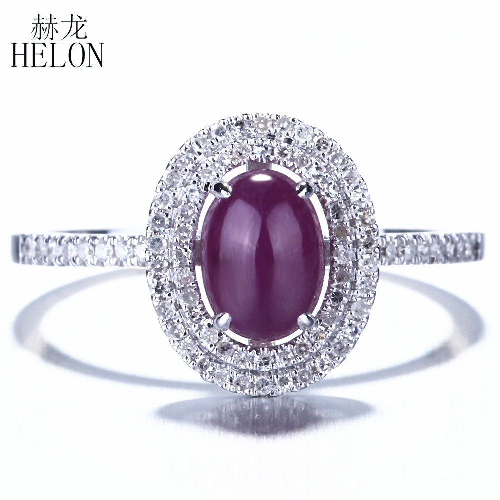 HELON Solid 14K White Gold Flawless Oval 7x5mm Gemstone Genuine Ruby Anniversary Fine Ring Pave Natural Diamonds Ring Jewelry