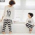 Sistema de la ropa a juego de la familia madre e hijo trajes 2015 otoño trajes de verano 2 unidades conjuntos de algodón y ropa de los niños
