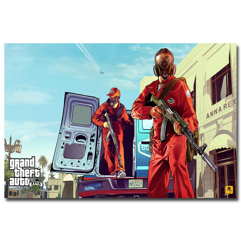 NICOLESHENTING Grand Theft Auto V Game Art Silk Poster Huge Print 12x18 32x48 inches GTA 5 Wall Pictures For Living Room 15