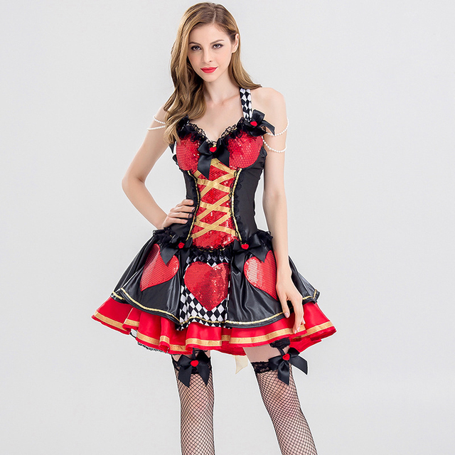Red & Black Poker Alice In Wonderland Queen Of Hearts Costume Halloween  Cosplay Adult Fancy Dress