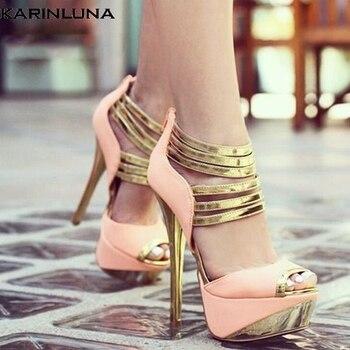 Karinluna Brand Design Big Size 34-47 Platform Party Sexy Prom Woman Shoes Women High Heels Gladiator Shoes Woman Sandals