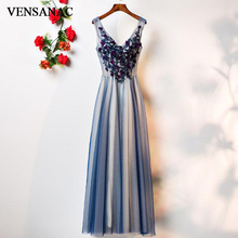 VENSANAC V Neck Flowers Appliques Long A Line Evening Dresses 2018 Elegant Lace Embroidery Tulle Party Prom Gowns