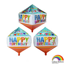 1pc 2018 New Multicolor Aluminum Balloons Tetrahedron Balloon Birthday Party Decorations Kids Individually Packaged Wholesale