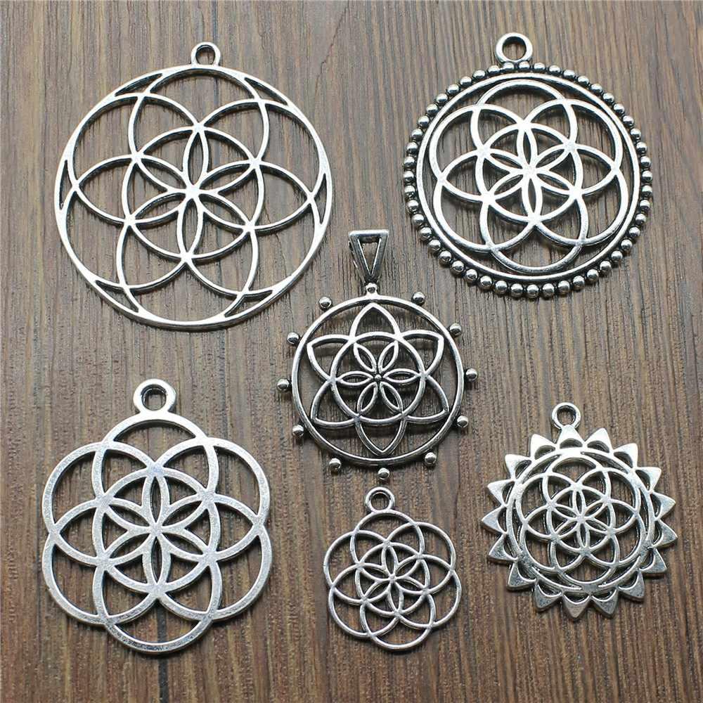 5 pçs/lote cor de prata antiga a flor da vida encantos para fazer jóias a semente da vida encantos jóias descobertas diy