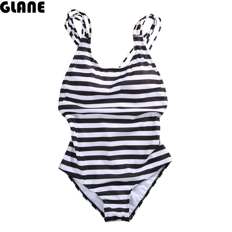 Women's One Piece Push Up Padded Bikini Black and white stripes Swimsuit Backless Swimwear Bathing Monokini Biquini Brazilian