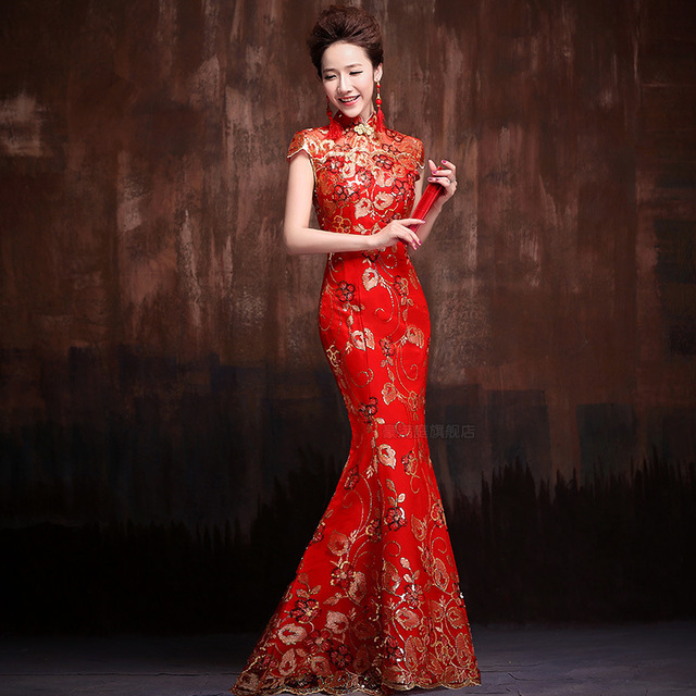 24fcf91c2df Red Sequins Embroidery Fishtail Cheongsam Bride Marry Chinese Dress Qipao  Modern Party Dresses China Wedding Robe Chinoise LP