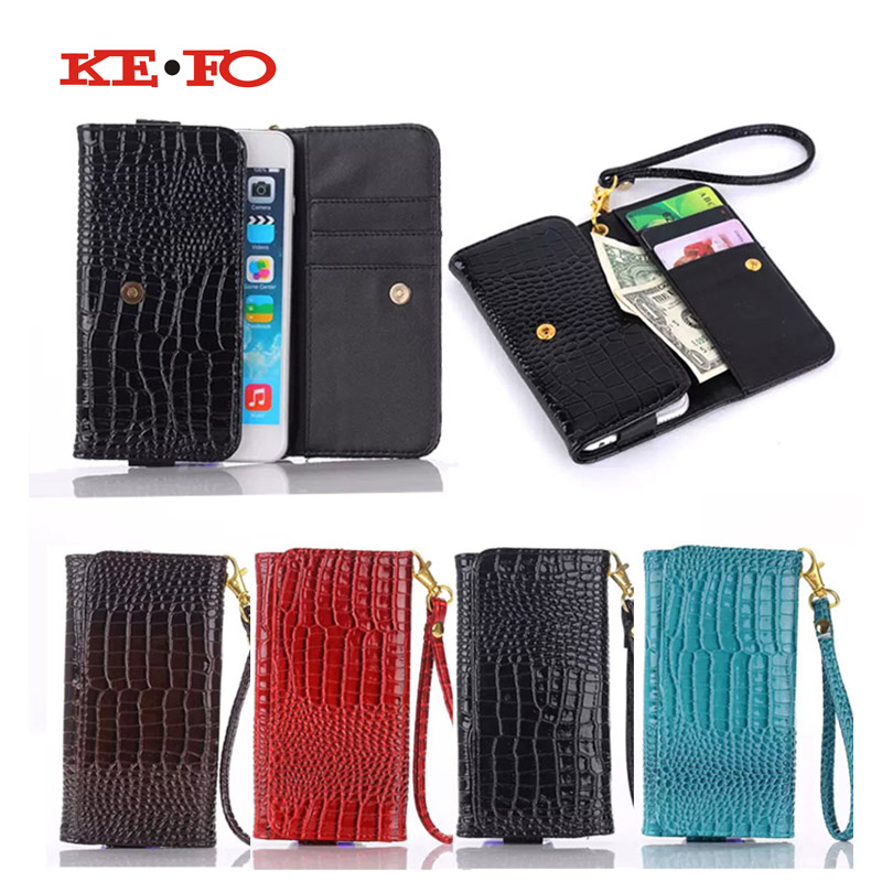 KEFO crocodile PU Leather Phone Pouch Case For iPhone 7 Plus 6 6S Plus Cell Phone Universal Bag Card Slot Flip Cover Cases