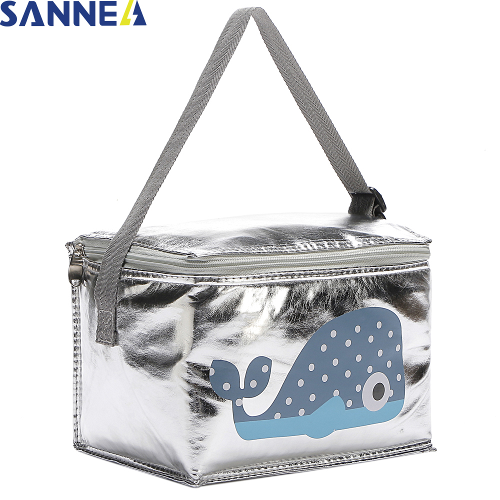 SANNE 6L Lunch Bag Cartoon Animal Thermal PU for Kids Food Picnic Cooler Bag Insulated Storage Fresh keeping children Bags CB205