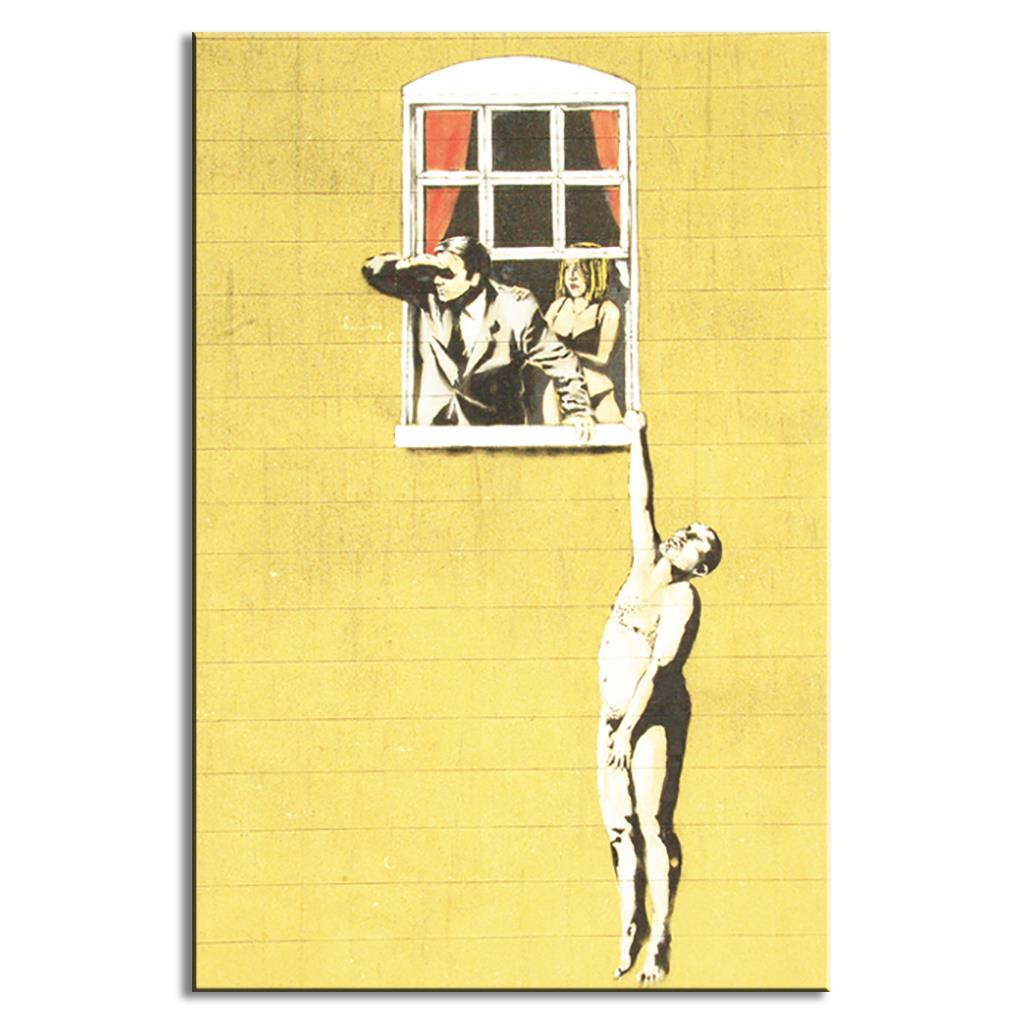 1 Pcs Banksy Art A Nude Man Hanging Out Of Window Canvas Prints ...