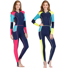 2018 Lycra Wetsuit Women Long Sleeve Full Body Surfing Spearfishing Swimsuits With Breast Pad Scuba Diving Triathlon Wet Suit N(China)