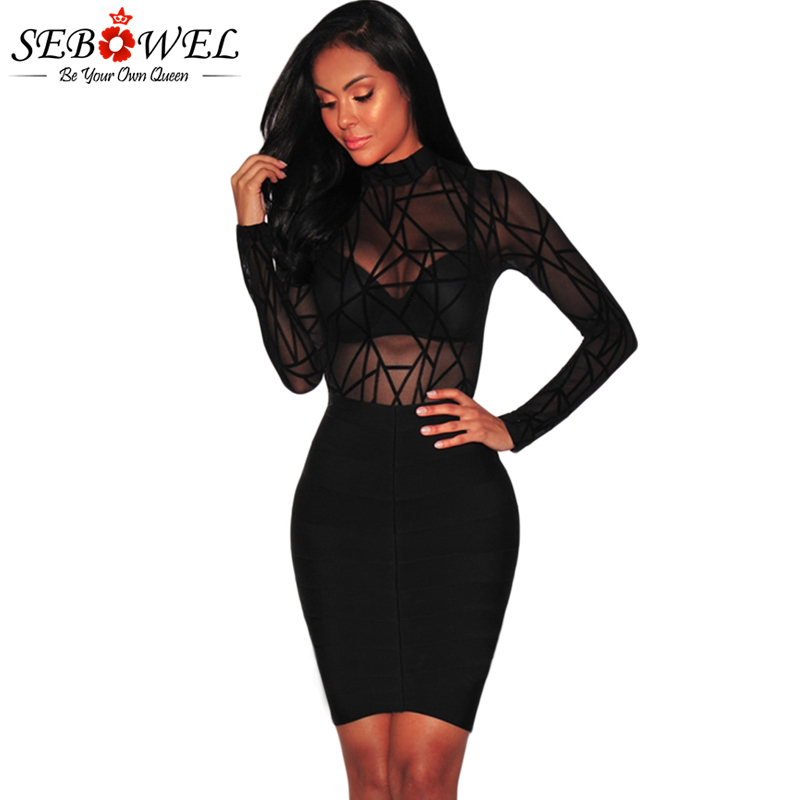 Novelty & Special Use Women's Exotic Apparel New Arrival Sexy Women Jumpsuits Bodysuits Turtleneck Full Sleeve Black Sheer Mesh Geometric Velvet Bodysuit For Girls V321660 Buy One Give One