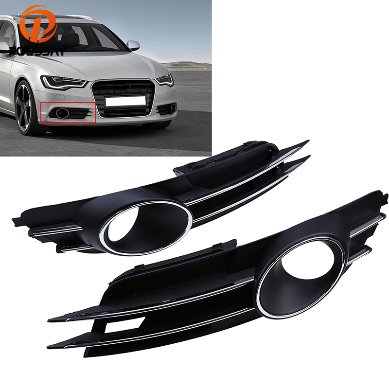 POSSBAY Front Fog Lamp Cover for Audi A6 C7 Sedan/Avant 2011 2012 2013 2014 2015 Pre-facelift Black Bumper Cover Grilles image