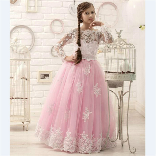 36bbc242fb00a Honey Qiao Flower Girl Dresses Hot Pink Floor Length Long Sleeves 2017  Appliques Pageant Dresses for Little Girls