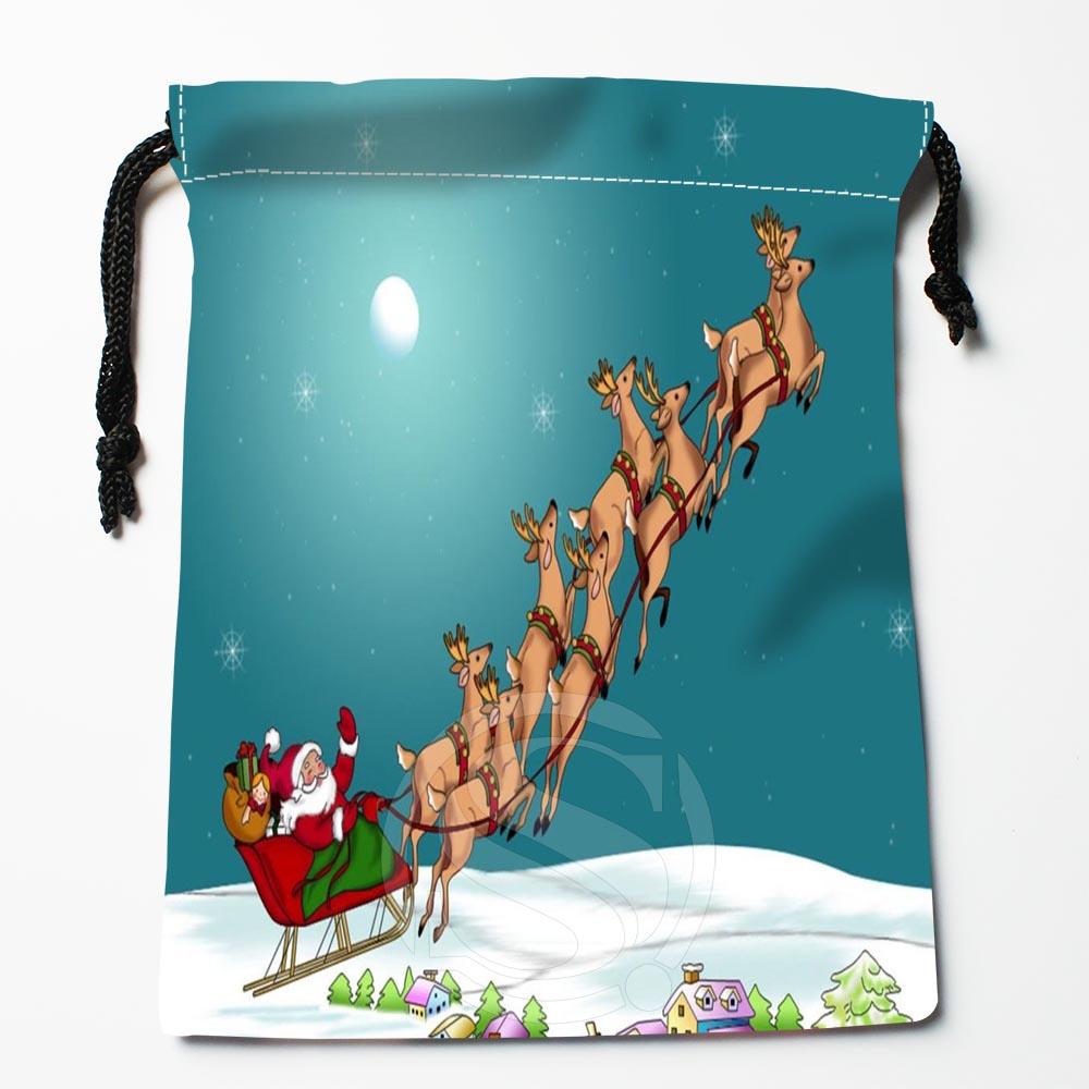 TF&195 New Santa Claus Christmas &5 Custom Printed Receive Bag Bag Compression Type Drawstring Bags Size 18X22cm #812#195UW