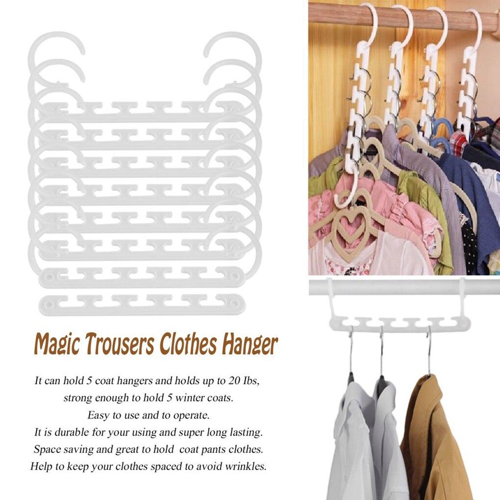 Portable 8 Pcs Space Saving Magic Trousers T-Shirt Pants Laundry Clothes Hanger Coat Organizer