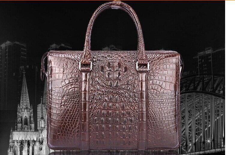 100% Genuine Crocodile Leather Skin Briefcase Men Laptop Bag Luxury Aliigator Leather Skin Men Business Bag