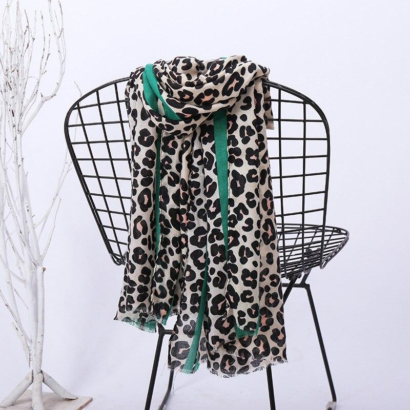 Hot 2019 Spain Brand Leopard Dot Striped Tassel Viscose Shawl Scarf Women High Quality Print Pashmina Stole Muslim Hijab Sjaal