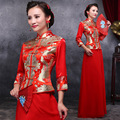 2015 red bride wedding qipao dress suit Wo wedding clothes chinese style dress robe chinoise long sleeve cheongsam free shipping