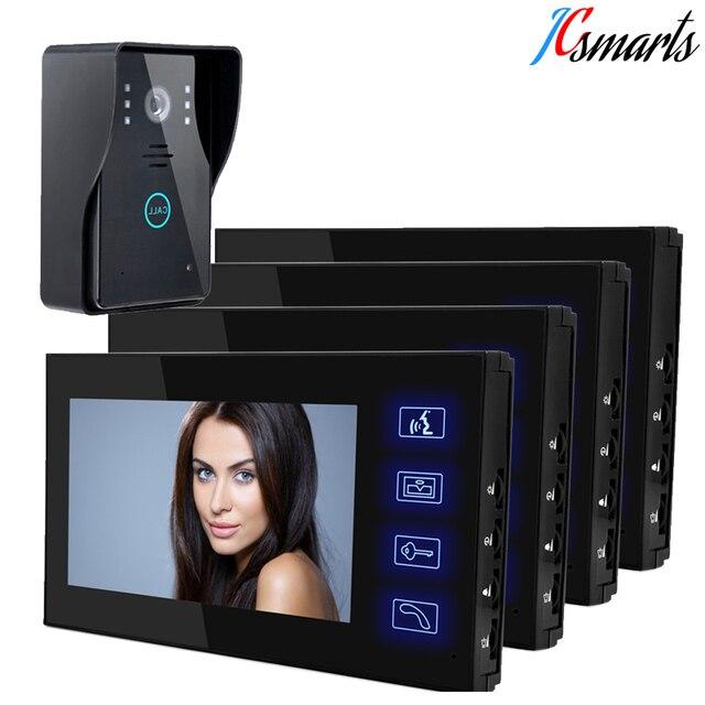 JCSMARTS 1V4 7 Inch Video Door Phone Door Intercom System Video Intercom Doorphone IR Night Vision Camera Monitor Kit For Home