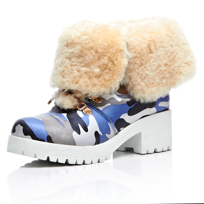 Women Genuine Leather Snow Boots 2016 New Arrival Sheepskin Leather With Fur Chunky Antiskid  Waterproof Taiwan Lace Up