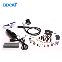 BDCAT 220V 180W Electric Dremel Variable Speed Rotary Tool Mini Drill With Flex Shaft And 140pcs