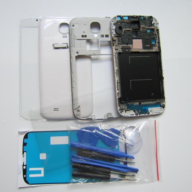 Branco/preto/azul tampa da caixa completa de peças de reparo para samsung galaxy s4 s IV i9500 + Frente de Vidro + Reparação Ferramentas Botão + Casa
